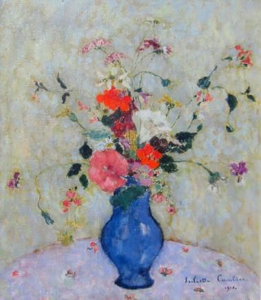 Juliette Cambier, Summer flowers in a blue vase