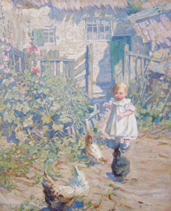 Dorothea Sharp, Child playing with chickens