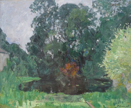 Paul Charavel, Woodland scene with lake