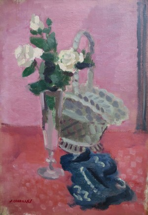 Jules Cavailles, White Roses With Basket