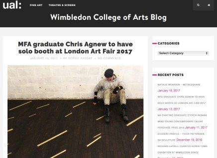MFA graduate Chris Agnew to have solo booth at London Art Fair 2017
