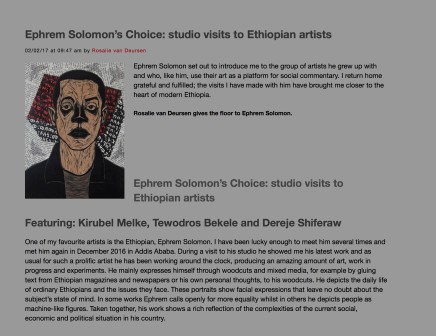 Ephrem Solomon's Choice: studio visits to Ethiopian artists