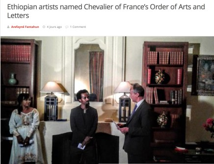 Ethiopian artists named Chevalier of France's Order of Arts and Letters