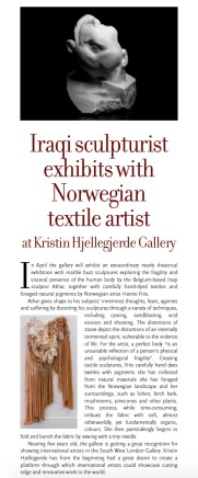 Iraqi Sculpturist exhibits with Norwegian textile artist