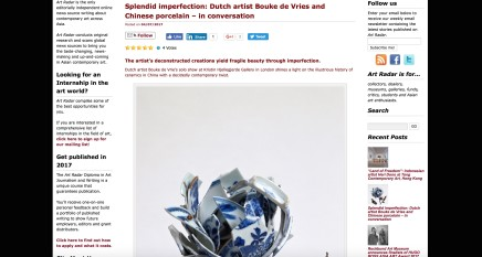 Splendid imperfection: Dutch artist Bouke de Vries and Chinese porcelain – in conversation