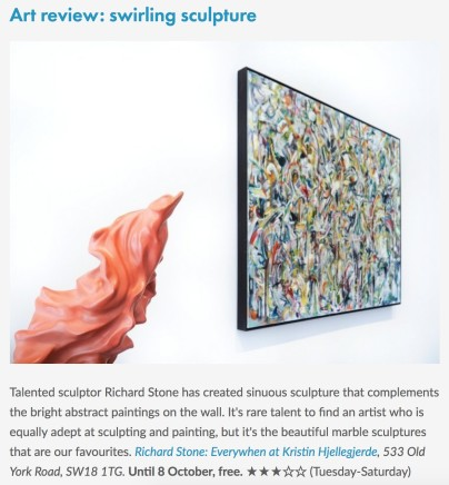 Art review: swirling sculpture