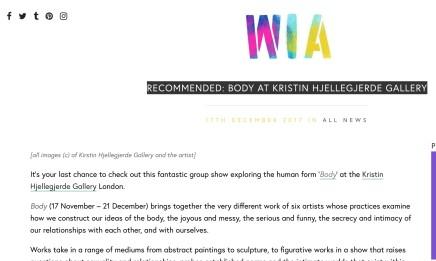 RECOMMENDED: BODY AT KRISTIN HJELLEGJERDE GALLERY