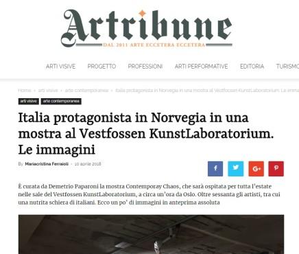 Italia protagonista in Norvegia in una mostra al Vestfossen KunstLaboratorium. Le immagini