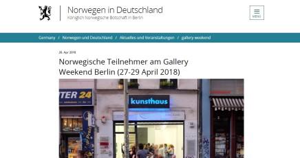 Norwegische Teilnehmer am Gallery Weekend Berlin (27-29 April 2018)
