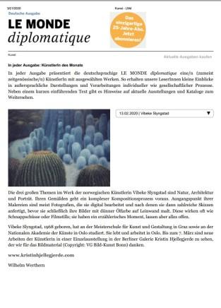 Le monde diplomatique: Künstlerin des Monats: Vibeke Slyngstad
