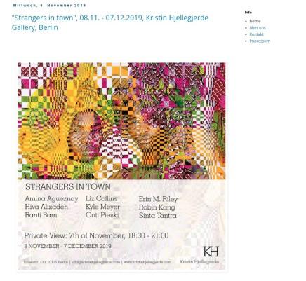 'Strangers in Town', 08.11. - 07.12.2019, Kristin Hjellegjerde Gallery, Berlin
