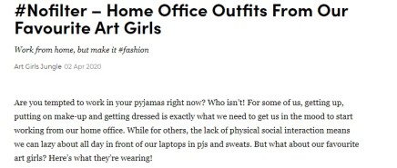 Home Office Outfits From Our Favourite Art Girls