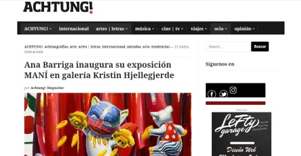 Ana Barriga inaugura su exposición MANÍ en galería Kristin Hjellegjerde