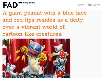 A giant peanut with a blue face and red lips resides as a deity over a vibrant world of cartoon-like...