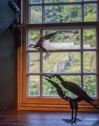 HELEN DENERLEY 'cross-tails and 'corvid' in vestry. Kilmorack Gallery August 2017