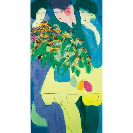 Walasse Ting, Three Women with Flowers, 1980s
