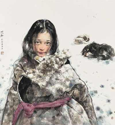 Ai Xuan, Tibetan Girl and Dogs, 2015