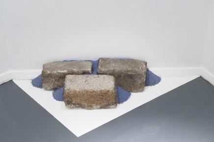 Cobblestones Non-site II, 2016 Sand, Ultramarine pigment, cobblestones 12 x 50 x 32 cm