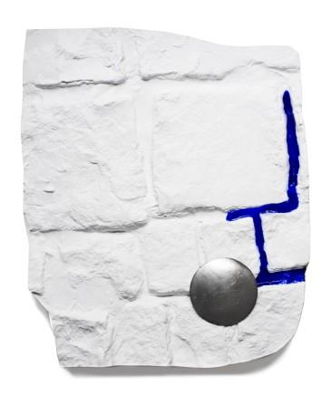 Polis (parapraxis), V, 2016 Plaster, acrylic and antique parisian traffic crossing nails 50 x 41 x 6 cm