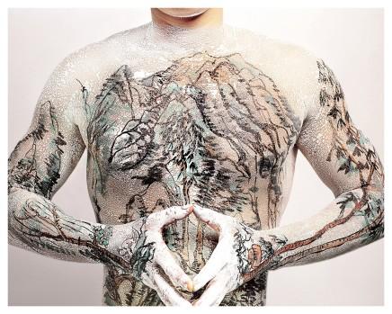 Huang Yan 黃岩, Chinese Shan-shui tattoo No.5, 1999