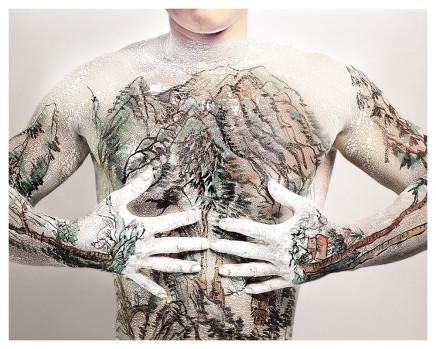 Huang Yan 黃岩, Chinese Shan-shui tattoo No.1, 1999