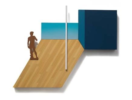 黄一山Huang Yishan 柱与远方, Column & Distance ,板上综合材料、木板、金属、油彩 ,Mixed Media on Board ,86×110 cm ,2016