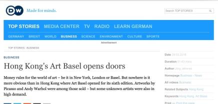 巴塞爾藝術展打開藝術大門