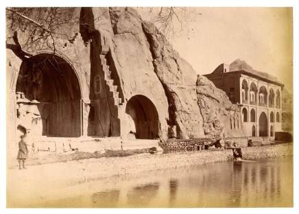 Antoin Sevruguin, Taq-i-Bustan, Sassanian rock sculptures on the south side of the Bisutun mountain, Late 19th Century
