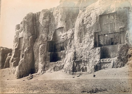 Antoin Sevruguin, Sacred Precinct with Achaemenid Tombs and Sasanian Rock Reliefs Carved into the Husain Kuh Cliff, Naqsh-i Rustam, Late 19th Century or early 20th Century