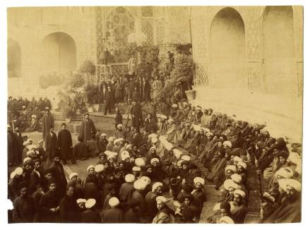 Antoin Sevruguin, Naser al-Din Shah Qajar lying in state in the Takiah Dawlat, 1896