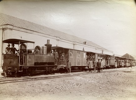Antoin Sevruguin, A train on the Tehran to the shrine of Abdul Aziz, Rey railway, Late 19th Century