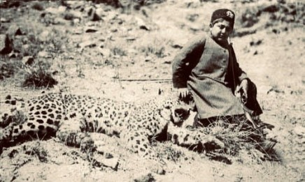 Not known, Ahmad Shah Qajar with throphy leopard, Early 20th Century