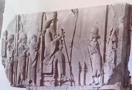 Ernst Herzfeld, hrone Hall, Northern Wall, West Jamb of Eastern Doorway: View of Uppermost Register Picturing Enthroned King Giving Audience, Persepolis, 1923-28