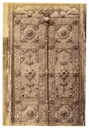 Antoin Sevruguin, A door to the shrine of Imam Reza in Mashhad, Late 19th Century