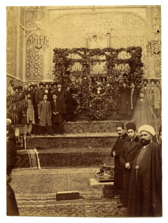 Antoin Sevruguin, Muzaffar al-Din Shah lying in state on a catafalque., 1907
