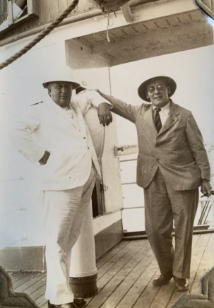 "John Drinkwater, Philip Thomas Byard Clayton (known as ""Tubby Clayton"") with an oil tanker captain, 1934"