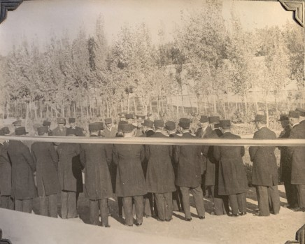 John Drinkwater, Reza Shah Pahlavi with members of parliament at Tus for the inauguration of the Ferdowsi Mausoleum, 1934