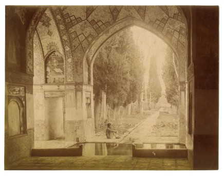Antoin Sevruguin, A man sitting in a pavillion of the Bagh-e Fin, Kashan, Late 19th Century