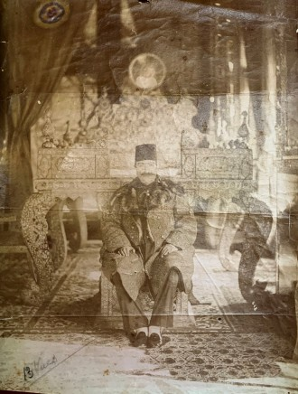 Antoin Sevruguin, Nasir Al-Din Shah Sitting in the Talar-i Takht of the Kakh-i Gulistan, Tehran, Late 19th Century or early 20th Century