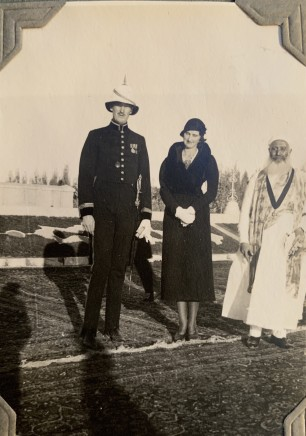 John Drinkwater, Lt.Colonel Everard Huddleston Gastrell, Adeline Delicia Gastrell and a senior religious figure in Ṭūs, 1934