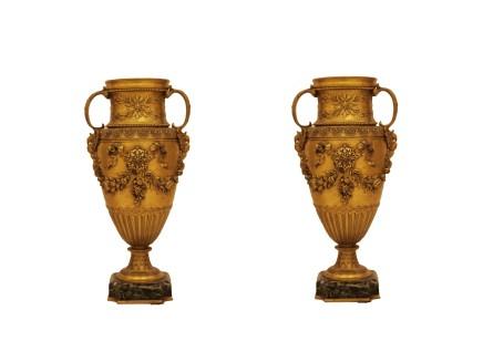 Ferdinand Barbedienne, Pair of gilt-bronze vase