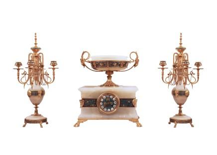 Ferdinand Barbedienne, Gilt bronze clock garniture, Late 19th century