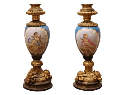 Pair of porcelain and gilt bronze cups, Late 19th century