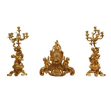Japy Frères, A gilt-bronze three-piece clock garniture, end of 19th century