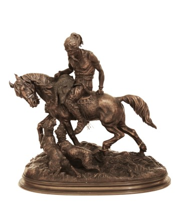Arthur-Marie Comte du Passage, Hunter on a horse with a boar and two dogs, 1874