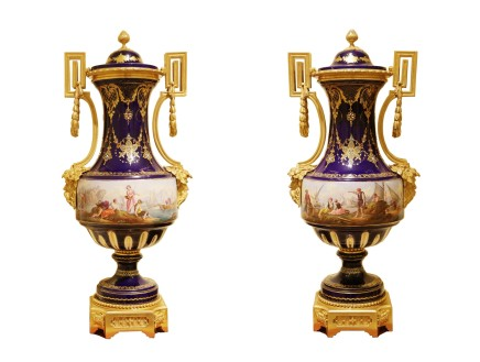 Pair of Sèvres style vases, end of 19th century