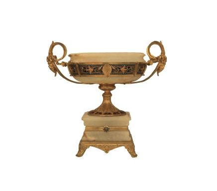 A Continental Onyx, Champleve and Gilt Bronze Mounted Bowl, Late 19th century