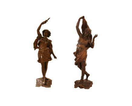 Henri Weisse, Pair of bronze statue of Oriental couple, Late 19th century