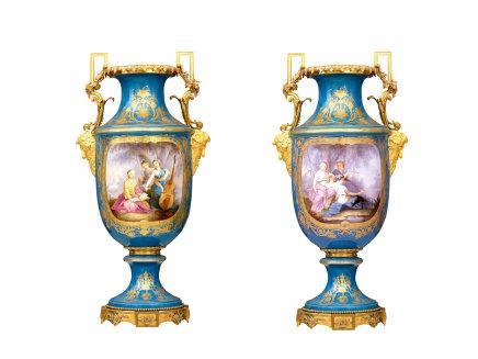 Large pair of baluster porcelain vases