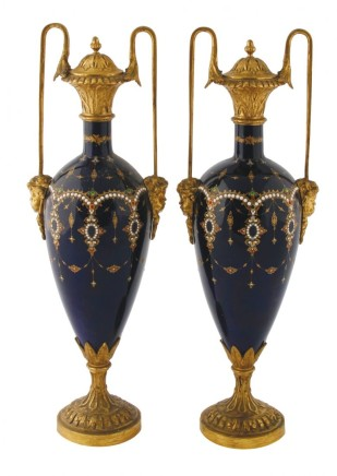 Pair of French porcelain and ormolu mounted vases, Late 19th century